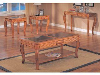 3 pc Pack Cocktail Table Set with Smoke Glass and Sofa Table in Oak Finish ADS40128, 40128 sf   Coffee Tables
