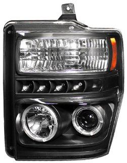 IPCW CWS 561B2 Ford Super Duty Black Projector Head Lamp with Rings   Pair Automotive
