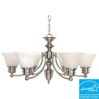 Green Matters Empire 6 Light Hanging Brushed Nickel Chandelier HD 3195