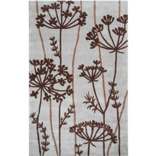 "Surya Cosmopolitan COS 8812 Transitional Hand Tufted 100% Polyester Pigeon Gray 3'6"" x 5'6"" Floral Area Rug   Machine Made Rugs"