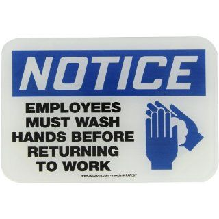"Accuform Signs PAR587 Deco Shield Acrylic Plastic Architectural Style Sign, Legend ""NOTICE EMPLOYEES MUST WASH HANDS BEFORE RETURNING TO WORK"" with Graphic, 9"" Width x 6"" Length x 0.135"" Thickness, Black/Blue on White Industrial W"