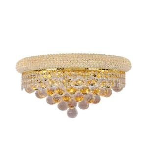Worldwide Lighting Empire Collection 3 Light Gold with Clear Crystal Wall Sconce W23018G16