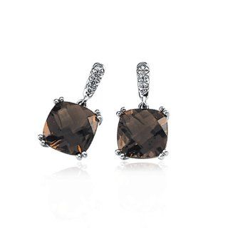 14 Karat White Gold Smoky Quartz And Diamond Earrings Jewelry