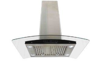 "AKDY New 30"" European Style Island Mount Stainless Steel Range Hood Vent Swiping Sensor Control W/Both Side Accessible Control AZ H601C 75 Appliances"