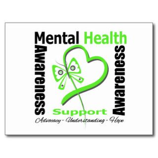 Mental Health Awareness Heart Butterfly Ribbon Postcard