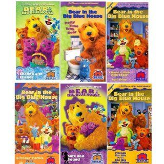 bear in the Big Blue House set 6 vhs Bear in the Big Blue House   Potty Time with Bear, Bear in the Big Blue House   Sharing with Friends,Bear in the Big Blue House, Vol. 4   I Need a Little Help Today, Bear in the Big Blue House, Vol. 7   Birthday Partie