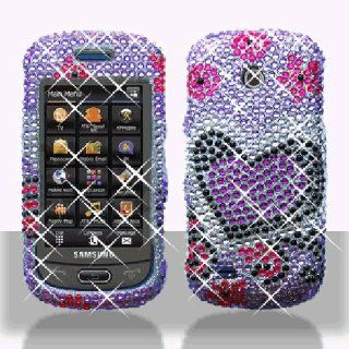 Hot Pink Heart Flower Bling Gem Jeweled Crystal Cover Case for Samsung Eternity II 2 SGH A597 Cell Phones & Accessories