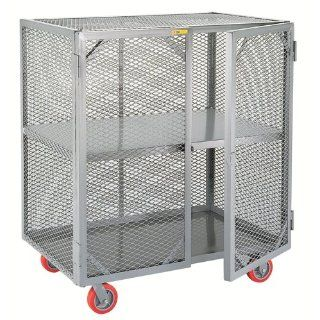 "Little Giant SC 2448 6PPY Welded Steel Visible Mobile Storage Locker with Fixed Center Shelf, 2000 lbs Load Capacity, 56"" Height x 24"" Width x 48"" Length"