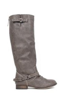 Breckelle's Outlaw 81 Distressed Leatherette Knee High Buckle Riding Boot Shoes