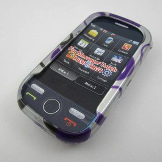 HARD PHONE CASES COVERS SKINS SNAP ON FACEPLATE PROTECTOR FOR SAMSUNG MESSAGER TOUCH SLIDER SCH R630 SCH R631 CRICKET ALLTEL / PURPLE BLACK ON SILVER POLKA DOTS (WHOLESALE PRICE) Cell Phones & Accessories