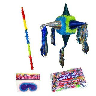 "26"" Satellite Blue & Green Pinata Kit Includes   Pinata, 3lb Filler, Buster Stick and Blindfold Toys & Games"