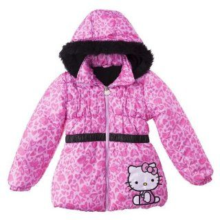 Hello Kitty Toddler Girls Pink Puffer Jacket W/ Heart Print Size   4T  Other Products