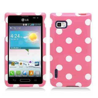For LG Optimus F3/MS659 (T Mobile/MetroPcs) Polka Dots Image, Light Pink+White Cell Phones & Accessories