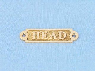 "Brass Head Sign 4"" nautical brass sign, nautical wall decoration, brass bathroom sign, Solid brass signs, nautical wall plaques, brass door signs"