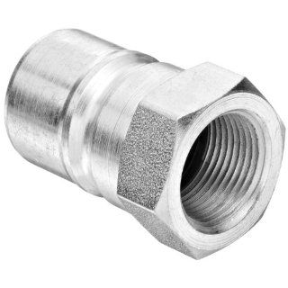 "Dixon 17 663 Steel Industrial Hydraulic Quick Connect Fitting, Poppet Valve Plug, 3/4"" Coupling x 3/4"" 14 NPTF Quick Connect Hose Fittings"