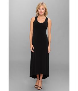 Calvin Klein S/L High Low Maxi Matte Jersey Dress Womens Dress (Black)