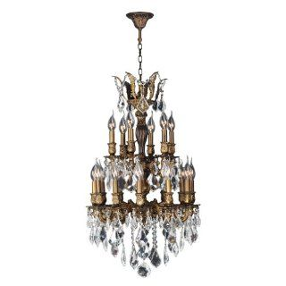 Worldwide Lighting W83345B19 Versailles 18 Light Antique Bronze Finish with Clear Crystal Chandelier