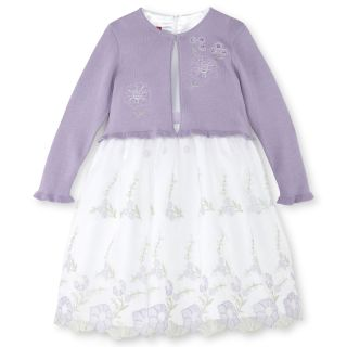 Princess Faith Embroidered Floral Dress and Sweater   Girls 2t 4t, Lilac, Lilac,