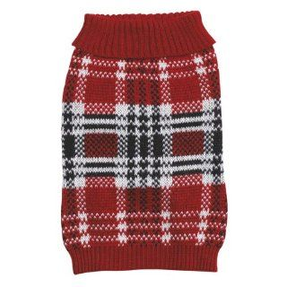 Zack & Zoey 24 Inch Acrylic English Plaid Pet Sweater, X Large, Red  Dog Sweaters For Large Dogs