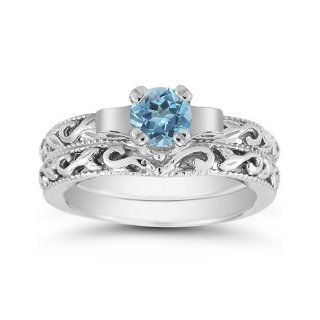 1 Carat Art Deco Blue Topaz Bridal Ring Set, 14K White Gold Jewelry