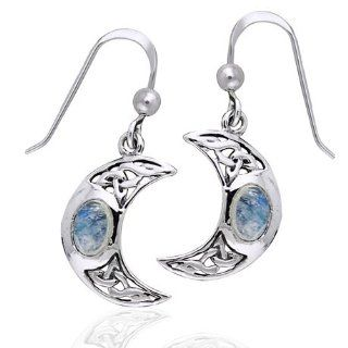 Celtic Knot and Crescent Moon Spirit with Genuine Rainbow Moonstone Sterling Silver Hook Earrings Dangle Earrings Jewelry