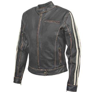 Xelement BXU 100530 Vintage Womens Dark Brown Leather Jacket   X Large Automotive