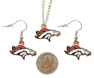 NFL Denver Broncos Sports Collegiate Team Logo Necklace and Dangle Earring Charm Set  Sports Fan Earrings  Sports & Outdoors