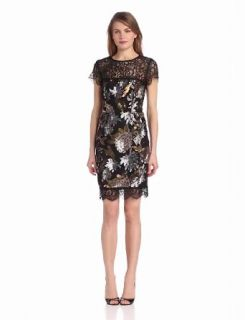 Nicole Miller Women's Metalic Floral Sequin and Lace Dress, Black Multi, 6