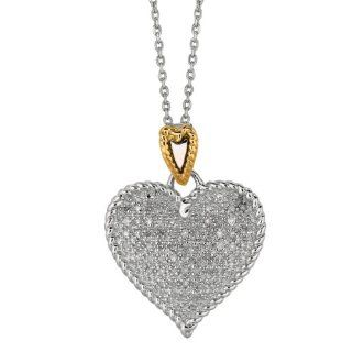"14 Karat Yellow Gold and Silver With Rhodium Finish 18"" Shiny Oval Link Chain Necklace With Heart Pendant 0.32Ct White Diamond Jewelry"