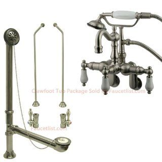 Satin Nickel Wall Mount Clawfoot Tub Faucet w hand shower w Drain Supplies Stops CC1305T8system   Bathtub Faucets
