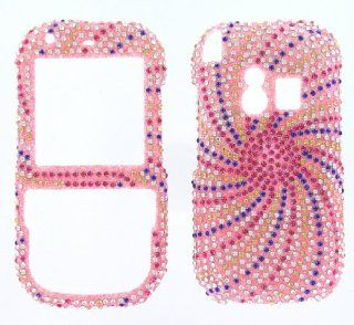 PALM Centro 690/685   SWIRL Design   PINK/BLUE   Full Rhinestones/Diamond/Bling/Diva   Hard Case/Cover/Faceplate/Snap On/Housing Cell Phones & Accessories