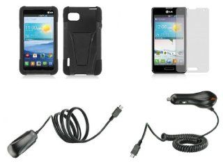 LG Optimus F3 MS659 (T Mobile, Metro PCS Versions Only)   Accessory Kit   Black Heavy Duty Combat Kickstand Case + Atom LED Keychain Light + Screen Protector + Wall Charger + Car Charger Cell Phones & Accessories