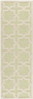 Safavieh CAM125B Cambridge Collection Handmade Wool Area Runner, 2 Feet 6 Inch by 6 Feet, Light Green/Ivory