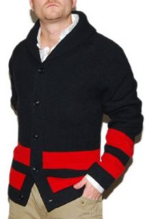 Polo Ralph Lauren Mens Lambs Wool Cardigan Sweater Black Red XL Clothing