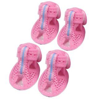 Summer 2 Pair Rubber Soles Pink Nylon Pet Dog Sandals Shoes Size XS  Pet Boots