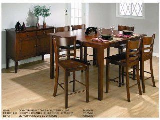 "7 Pcs Set 54""x54"" Solid Wood Counter Height Table with Stool   Coffee Tables"