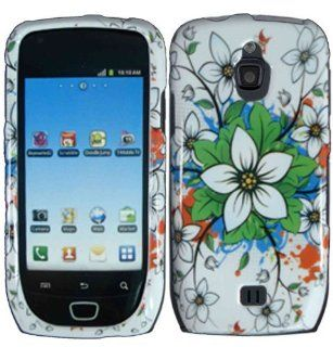 White Flowers Hard Case Cover for Samsung Exhibit 4G T759 Cell Phones & Accessories