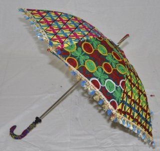 Valentines Day Gift Handmade Cotton Designer Umbrella for Summer Embroidery Work Lalhaveli Kitchen & Dining