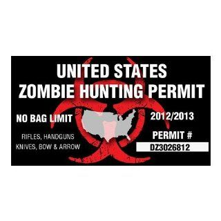 Magnetic United States Zombie Hunting Permit magnet bumper sticker decal Automotive