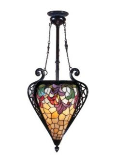 Dale Tiffany TH100578 Jacqueline Fancy Inverted Pendant Light, Mica Bronze and Tiffany/Metal Shade   Ceiling Pendant Fixtures
