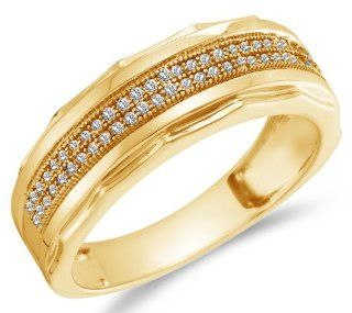 Yellow Gold Plated 925 Sterling Silver Micro Pave Set Two Rows Round Brilliant Cut Diamond Mens Wedding Band OR Fashion Ring (1/5 cttw.) Jewelry