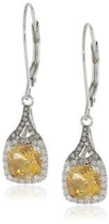 Badgley Mischka Fine Jewelry Sterling Silver White and Champagne Diamonds Cushion Cut Citrine Earrings Jewelry