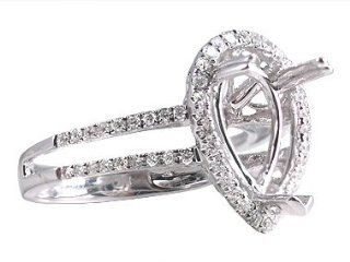 Art Deco White Gold Mounting Engagement Rings Jewelry