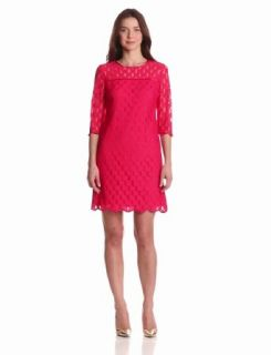 Adrianna Papell Women's 3/4 Sleeve Scalloped Lace Dress, Hot Pink, 10