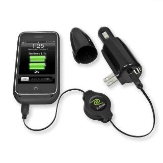 Emerge Technologies Retractable iPhone Battery Case Charger and Sync   Black Cell Phones & Accessories
