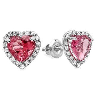 1.65 Carat (ctw) 10k White Gold Heart Pink Tourmaline Diamond Halo Stud Earrings Jewelry