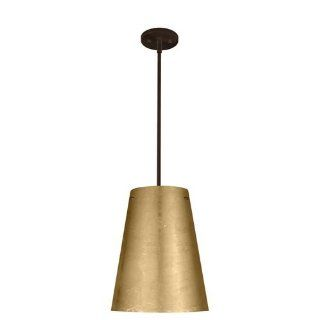 Torre One Light Stem Mount Pendant with Flat Canopy Finish Bronze, Glass Shade Gold Foil   Ceiling Pendant Fixtures