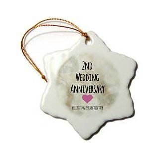 3dRose orn_154429_1 2nd Wedding Anniversary Gift Cotton Celebrating 2 Years Together Snowflake Porcelain Ornament, 3 Inch   Decorative Hanging Ornaments