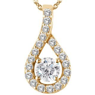 0.35 Ct Round G/H Diamond White Topaz 14K Yellow Gold Pendant Jewelry