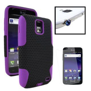 MINITURTLE, Dual Layer Mesh Hybrid Phone Case Cover, Screen Protector Film, and Gem Dust Cap Kit for AT&T Smartphone Samsung Galaxy S2 II Skyrocket SGH I727 (Black / Purple) Cell Phones & Accessories